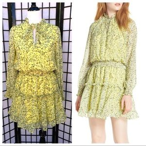 Emma Floral Print Ruffle Dress In Yellow Floral